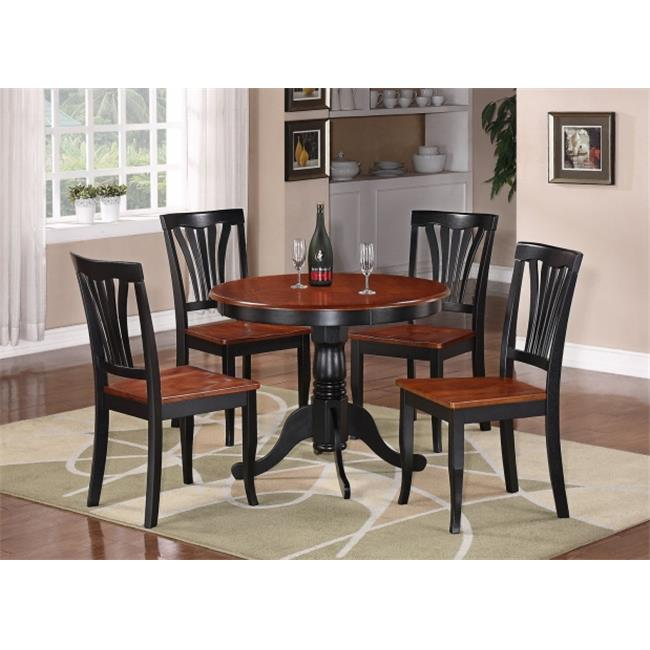 East West Furniture ANAV5-BLK-W 5 -Piece Round Kitchen 36 in. Table and 4 Chairs with Wood seat in Black & Cherry Finish