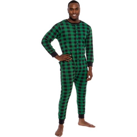 Ross Michaels Mens Buffalo Plaid One Piece Union Suit Pajamas w/ Drop