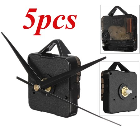 Vendor Mechanism - 5x  2pcs DIY Quartz Clock Spindle Movement Mechanism Repair Parts Kit + Black Hand Home Dedroom Wall Clock US