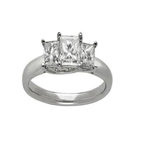 Exquisite Three Stone Trilogy Diamond Wedding Ring 0.25 Carat Princess Cut Diamond on Gold