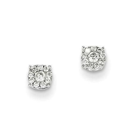 14K White Gold Diamond Earrings  Carat Wt  0 15Ct  4Mm