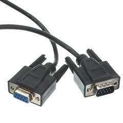 Serial Extension Cable, Black, DB9 Male to DB9 Female, RS-232, UL rated, 9 Conductor, 1:1, 15 foot
