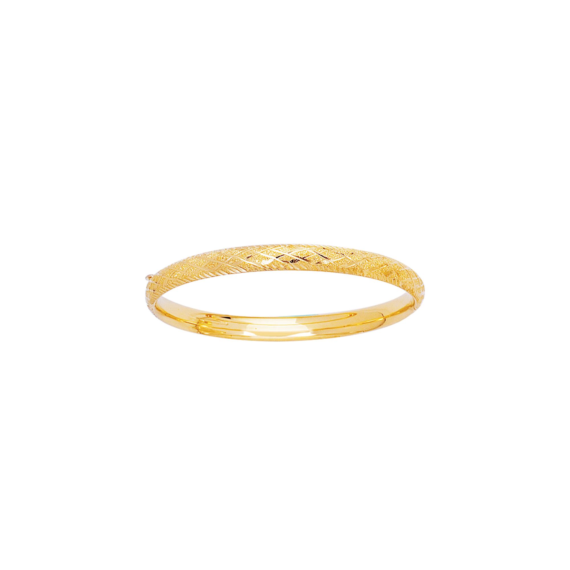 14k Yellow Gold 5mm Engraved Baby Children Kids Bangle Bracelet 5.5