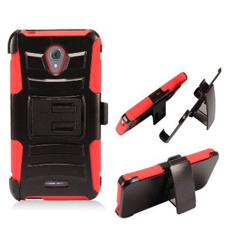 "Phone Case for AT&T PREPAID Alcatel idealXCITE, ideal-Xcite / Alcatel Raven A574BL / Alcatel Cameo-X CameoX / Alcatel Verso (5"" screen display) Combo Holster with Belt Clip (Holster Red Edge Case)"