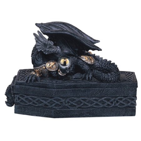 - Black Dragon on a Coffin Medieval Fantasy Jewelry Trinket Box Container New