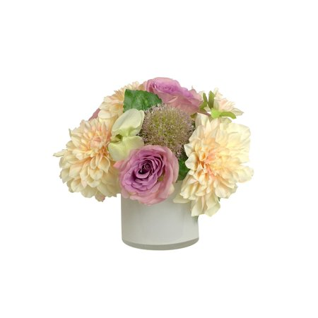 11 Peach Dahlias And Purple Roses Artificial Silk Floral