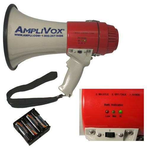 Amplivox SB602R Mity-Meg 25W Rechargeable Megaphone w  Rechargeable Battery Pack by AmpliVox