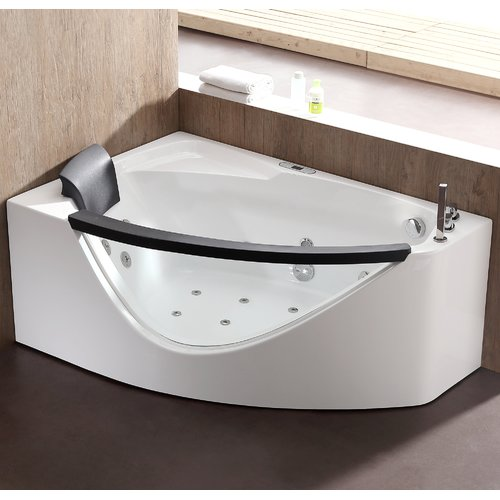 EAGO Rounded 59'' x 39.4'' Corner Whirlpool Bathtub