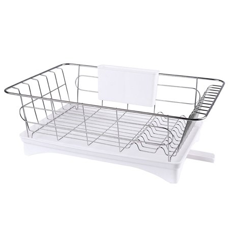Stainless Steel Single-layer Drying Rack Bowl Organizer Kitchen Dish Drainer Holder (White Tray) Single Compartment Dish