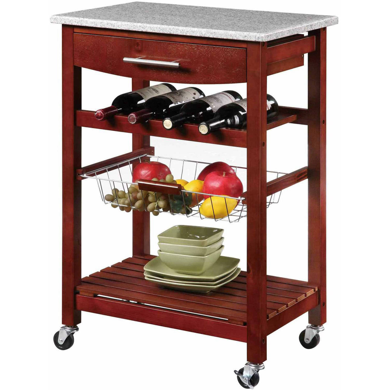 Linon Kitchen Island Cart With Granite Top, - Walmart.Com