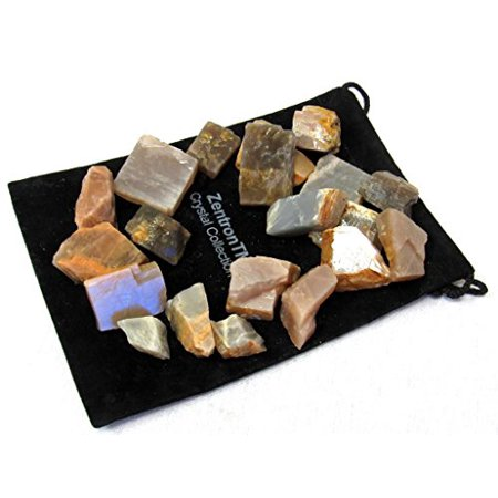 Zentron Crystal Collection: 1 Pound Natural Rough Multi-Colored Moonstone Stones