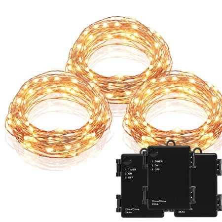 Kohree 3 Pack Micro 30 LEDs Super Bright Warm White Decor Rope Lights Battery Operated on 10 Ft Long String Copper Wire (Micro Led Lights)