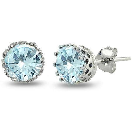 Citrine Crown Earrings - Blue Topaz Sterling Silver Crown Stud Earrings