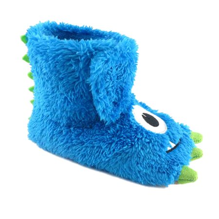 Toddler Boys Fuzzy Blue Monster Claw Slippers Boot Style House Shoes