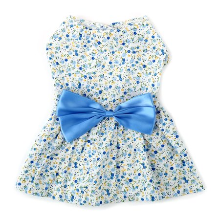- Unique Bargains Summer Small Pet Dog Dresses Clothes Princess Skirt Bowknot Flower Blue S