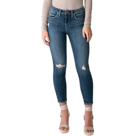 Silver Jeans Co. Women's Avery High Rise Skinny Crop Jeans Crop, Waist Sizes 24-36