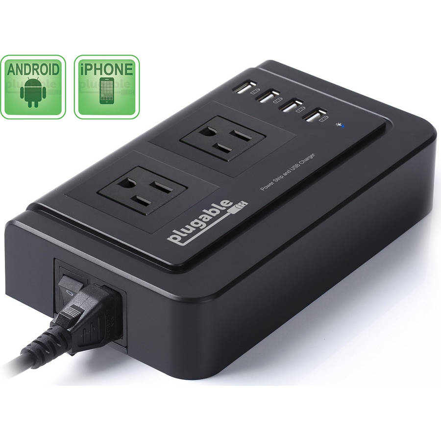 Plugable 2-Outlet Desktop Power Strip with 4-Port USB Charger