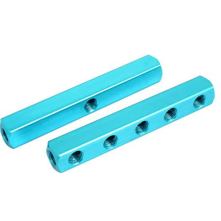 - Air Pneumatic 1/4BSP Thread 8 Ports Hose Inline Manifold Block Splitter 2pcs