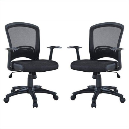 Manhattan Comfort Gracie Classic Office Chair in Black (Set of 2) ()