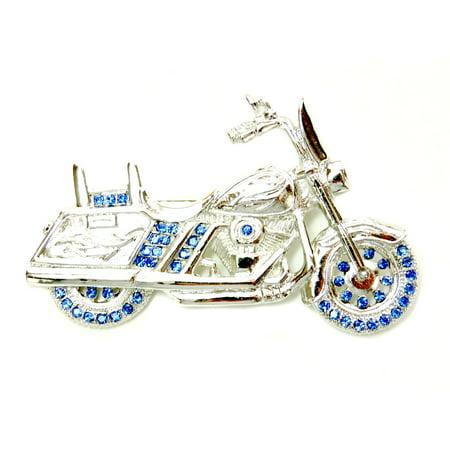 - Faship Motorcycle Pin Brooch Gorgeous Black Crystal