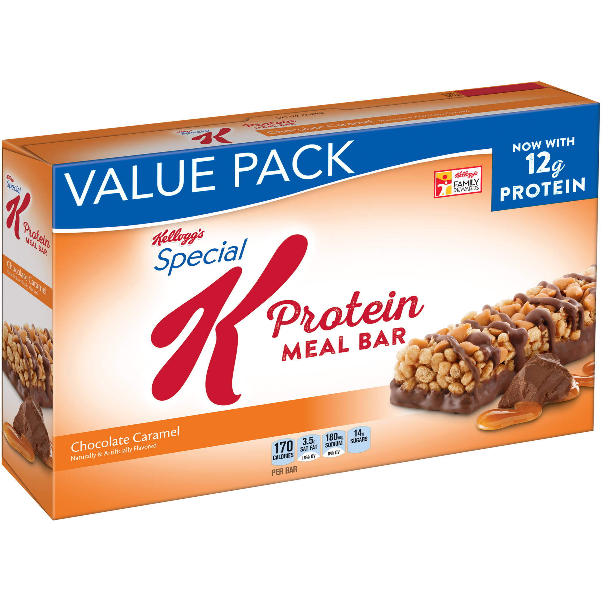 Kellogg's Chocolate Caramel Protein Meal Bars, 1.59 oz, 12 count