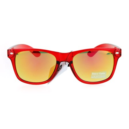Colored Reflective Mirror Lens Horn Rim Pop Color Sunglasses Red - Colored Horn