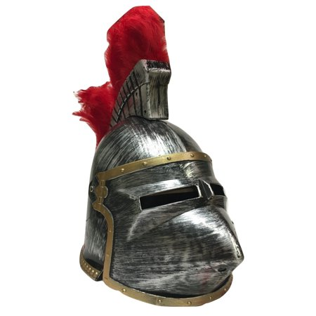 Pewter Pointed Medieval Knight Hounskull Helmet Costume Red Feather Plume - Knight Helmet Costume