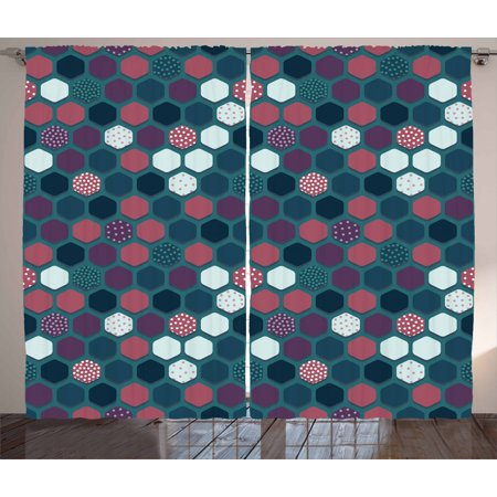 Geometric Curtains 2 Panels Set, Vibrant Hexagon Shapes with Ornamental Polka Dots Vintage Pattern, Window Drapes for Living Room Bedroom, 108W X 63L Inches, Dark Teal Plum Dried Rose, by Ambesonne ()