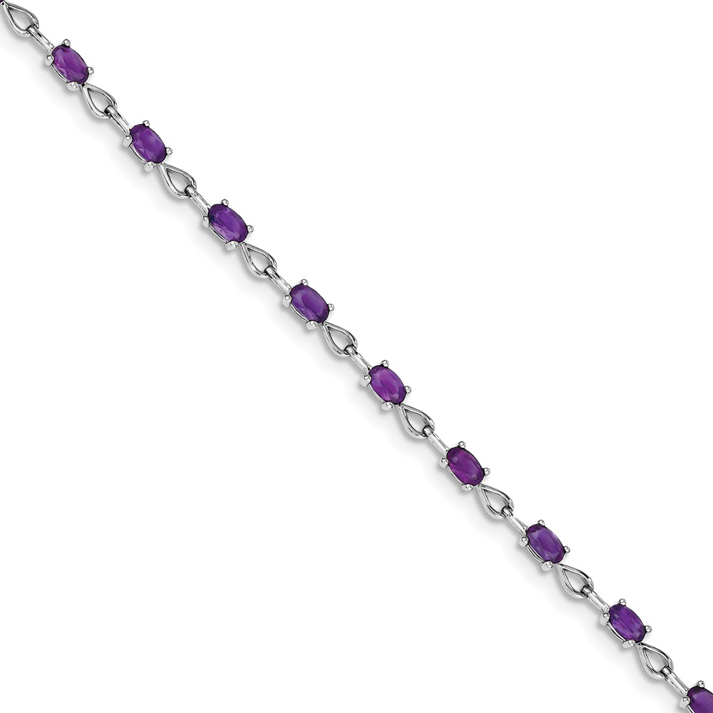 Sterling Silver Simulated Amethyst Bracelet with Secure Lobster Lock Clasp (3mm) by AA Jewels
