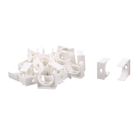 Unique BargainsHome PVC U Shaped Water Supply Pipe Holder Clamps Clips White 25mm Dia 25 Pcs