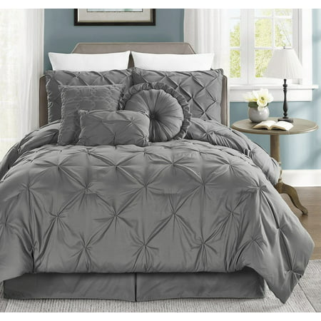 Chezmoi Collection Sydney 7-Piece Pintuck Pinched Pleated Duvet Cover Set