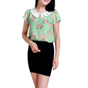 Women's Pleated Peter Pan Collar Floral Tops Pink (Size XL / 16)