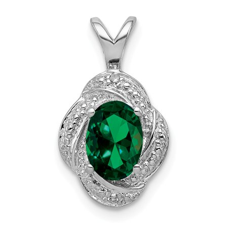 Sterling Silver Diamond & Simulated Emerald Pendant (10mm x 16mm)