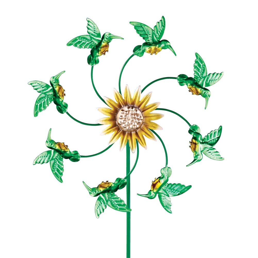 Sunflower And Hummingbird Metal Wind Spinner, Green by Collections Etc
