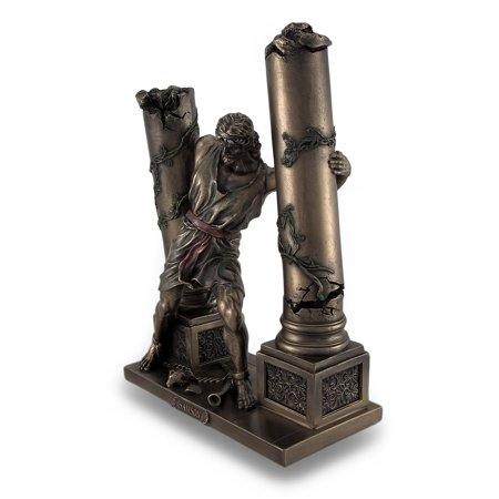 Bronze Finish Samson Pushing Down Pillars Statue | Walmart
