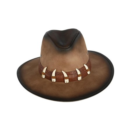 - Men's Distressed Faux Leather Western Hat with Faux Animal Teeth,  Brown