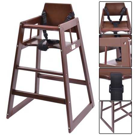 Sensational Costway Baby High Chair Wooden Stool Infant Feeding Children Toddler Restaurant Natural Bn Short Links Chair Design For Home Short Linksinfo