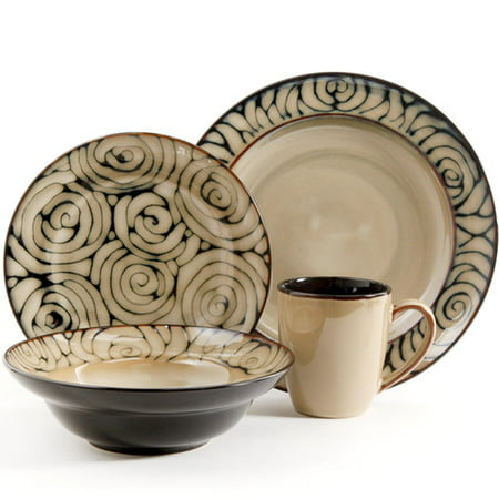 Gibson Bright Bella 16pc Dinnerware Set-Red and Cream Reactive Stoneware