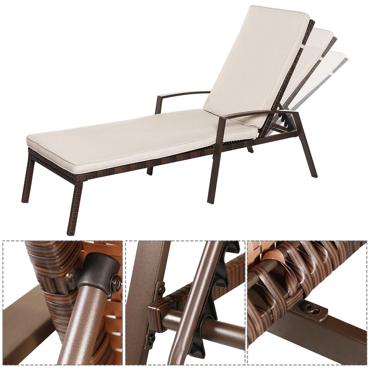 2pcs Patio Rattan Lounge Chair Garden Furniture Adjustable Back W/ Cushion - image 7 of 10
