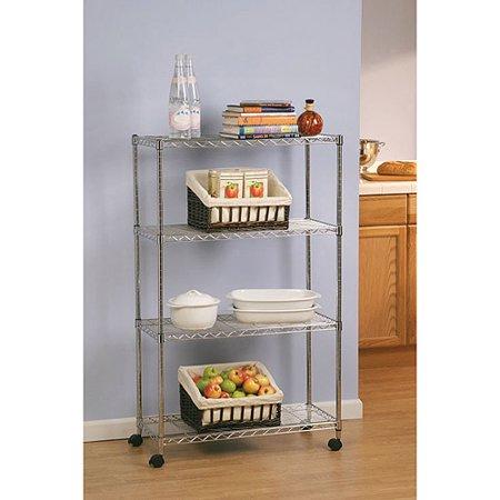Seville Classics 4-Shelf Home-Style Shelving, SHE14304ZB - Utility Shelves