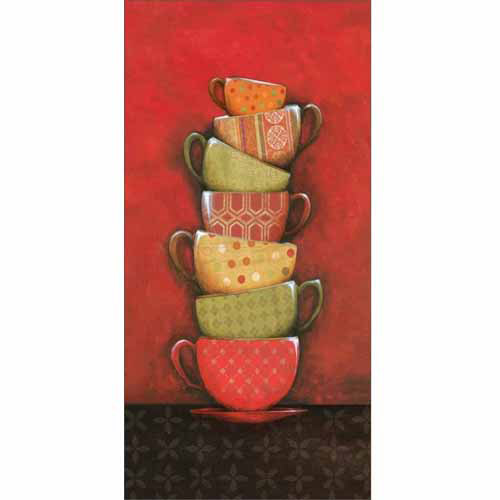 Stack of Kitchen Coffee Cup Patterned Mugs Polka Dots Painting Red & Black Canvas Art by Pied Piper Creative