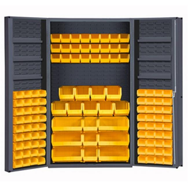 14 Gauge Lockable Cabinet with 114 Yellow Hook on Bins & 6 Door Shelves, Gray - 48 x 24 x 72 in.
