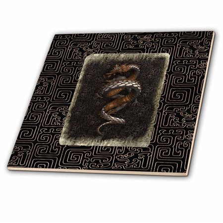 3dRose Ancient Dragon Look on Chinese Design, Dark Brown, Gold and Tan - Ceramic Tile, 12-inch