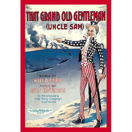 Vintage sheet music cover of Uncle Sam pointing to a parade of warships below in action with a bombardment of the coast  Produced during the Patriotic fervor of World War 1 Poster Print by unknown