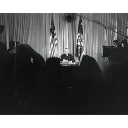 President Harry Truman Seated At His Desk With Lights On And Cameras Rolling He Was Announcing That World War 2 In Europe Had Ended May 9 History