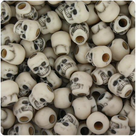 BeadTin Dark Ivory Antique 11mm Skull Pony Beads (150pcs)