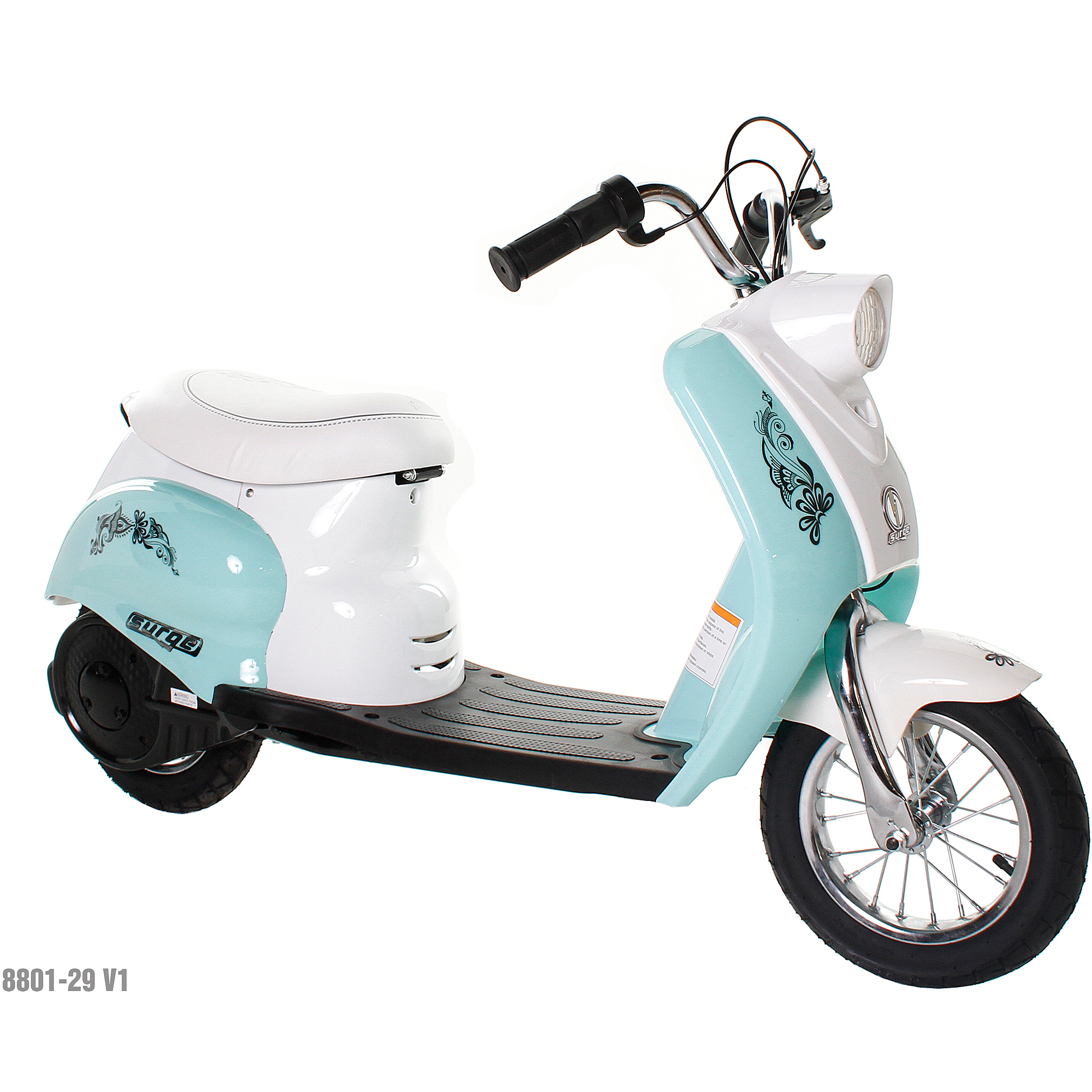 Surge Girls' 24V City Scooter, White/Teal
