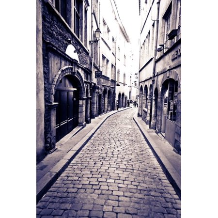 Cobblestone Street in Old Town Vieux Lyon, France Print Wall Art By Russ