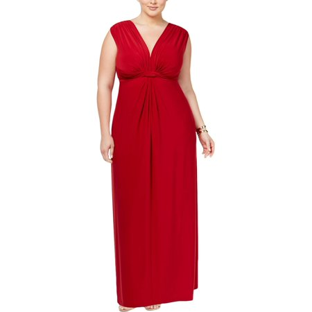 Love Squared Womens Plus Matte Jersey Knot-Front Cocktail Dress