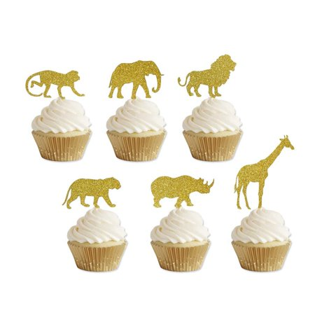 Golden Giraffe (Gold Glitter Jungle Safari Animal Cupcake toppers Elephant Giraffe Rhino Lion Tiger Monkey for Jungle safari Baby Shower Birthday Party Supplies Decorations 24)